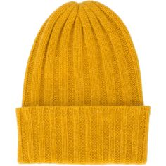 The Elder Statesman rib knit beanie (22.950 RUB) ❤ liked on Polyvore featuring accessories, hats, beanie caps, beanie cap hat, beanie hat, mustard beanie hat and mustard hat