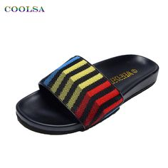 de7303042cbcc3 Men s Shoes · Coolsa New Summer Men Beach Slippers PU Stripe Fabric Slides  Rubber Flat Designer Sandals Trendy Man