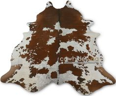 Brown & White Cowhide Rug Size 7.5' X 6.5'  Spotted Cow Hide Skin Rug E476 #COWHIDESUSA #Lodge