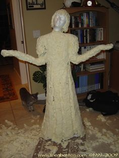 DIY for making your own statue.  Could be a way to make larger sized cemetery statues for your lawn.