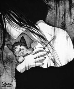 LOVE-A-CAT-Raphael-VAVASSEUR-Peinture-Originale-Original-Painting