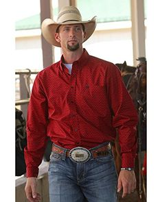 Cinch Men's And Herringbone Button Long Sleeve Shirt Red XX-Large Cowboy Outfit For Men, Cowboy Outfits, Country Outfits, Western Outfits, Western Wear, Cowboys Men, Cowboys Shirt, Prom For Guys, Cute Country Boys