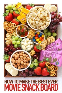 This Popcorn Movie Platter is the perfect board of snacks and treats whilst watching a movie. For ki - This Popcorn Movie Platter is the perfect board of snacks and treats whilst watching a movie. Platter Board, Snack Platter, Party Food Platters, Snack Trays, Dessert Platter, Platter Ideas, Charcuterie Recipes, Charcuterie And Cheese Board, Charcuterie Platter