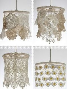 Beautiful lamps with antique lace and lace doilies lampshades.  Notice the tops on these beauties. Those sure look like old movie reels to me.