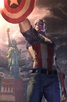 All about Captain America (Steve Rogers), via Comic Vine Comic Book Characters, Comic Book Heroes, Marvel Characters, Comic Character, Comic Books Art, Comic Art, Arte Dc Comics, Marvel Comics Art, Marvel Heroes