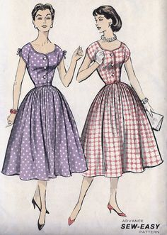 Misses Shirtwaist Dress - Button down front with kimono sleeves and gathered skirt Vintage Dress Patterns, Clothing Patterns, Vintage Dresses, Vintage Outfits, Vintage Clothing, 1950s Fashion, Vintage Fashion, 50 Style Dresses, Patron Vintage