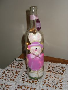 Happy Easter Wine Bottle With Lights -  Girl Bunny