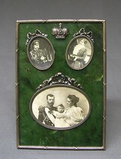 Picture frame by Carl Fabergé, workmaster: Karl Gustav Hjalmar Armfelt, 1904–8, in nephrite, silver mounts, with photos of the Imperial family of Nicholas II
