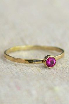 """Delicate Ruby Ring (July's Mother's/Birthstone Ring) - Minimal & Simple - 14k Yellow Gold Filled. Rustic, Everyday Ring. Perfect for a flash of gold and color on the hand, without being to """"much."""" - D"""