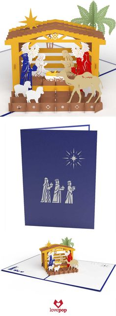 Celebrate the spirit of Christmas with the three kings and this Nativity scene pop up Christmas Card.