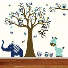 Custom Listing Vinyl Wall Decal Mural Giraffe,elephant,monkey nursery wall decal sticker vinyl tree and branch jungle decals via Etsy