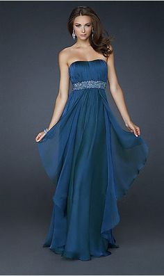 A-line Strapless Sequins Waistband Navy Royal Blue Chiffon Prom Dress / Long Prom Dresses  P288284