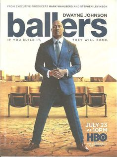 2017 PRINT AD for HBO tv Ballers Dwayne Johnson ADVERTISING PAGE