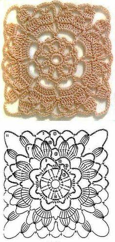 Transcendent Crochet a Solid Granny Square Ideas. Inconceivable Crochet a Solid Granny Square Ideas. Crochet Motif Patterns, Crochet Blocks, Granny Square Crochet Pattern, Crochet Diagram, Crochet Squares, Crochet Chart, Thread Crochet, Love Crochet, Crochet Granny