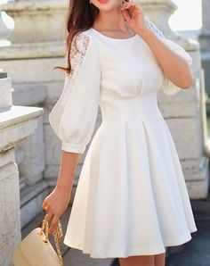 Check the details and price of this Dressy Crew Neck Paneled Sweet Half Sleeve Mini Dress (White, Dabuwawa) and buy it online. VIPme.com offers high-quality Day Dresses at affordable price.