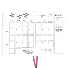 BuJo Monthly Layout - Inspiration. Love this minimalistic style of a monthly bullet journal layout