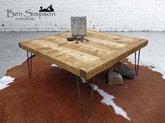 Rustic Coffee Table Solid Wood Industrial Metal Hairpin Legs Chunky