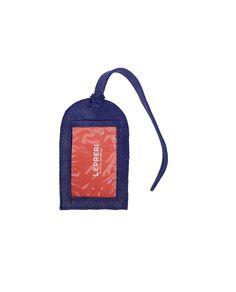 Tag de mala de couro azul glitter - LEPRERI - leather luggage tag blue