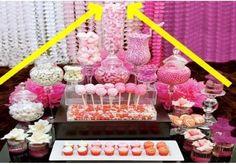 7 Super Simple DIY Tips For Creating an Unforgettable Candy Buffet Candy bar for bar mitzvah, bat mitzvah, teen party, quinceanera Lolly Buffet, Candy Buffet Tables, Dessert Buffet, Candy Table, Dessert Bars, Party Fiesta, Festa Party, Sweet Buffet, Bar A Bonbon