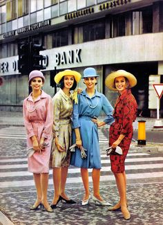 Fashion <3 1963 vintage style color photo print ad 60s models magazines shirt dress sheath shirtwaist pink green blue red hats shoes purse gloves shift