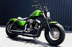 Green #Harley #bobber fortyeight