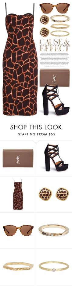 """Giraffe Print 2199"" by boxthoughts ❤ liked on Polyvore featuring Yves Saint Laurent, Aquazzura, Dolce&Gabbana, Envi:, Komono, Elizabeth and James, Sydney Evan and Meira T"