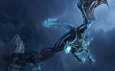 Wrath Of The Lich King Dragon Wallpaper. This wallpaper features a dragon from the second World of Warcraft game expansion, Wrath of the Lich King. Ice Dragon, Black Dragon, Dragon Art, Water Dragon, Robot Dragon, Dragon Horns, Dragon Fight, 3d Fantasy, Fantasy Dragon