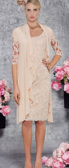 Romantic Lace & Chiffon Scoop Neckline Knee-length Sheath Mother Of The Bride Dress With Detachable Coat