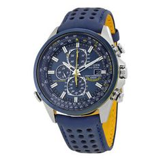 b6b2aeab384 Citizen Eco Drive Blue Angels World Chronograph Mens Watch AT8020-03L Mens  Watches Leather