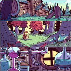 Background Drawing, Cartoon Background, Animation Background, Environment Concept Art, Environment Design, Ghibli, Comic Style, Comic Layout, Sonic Art
