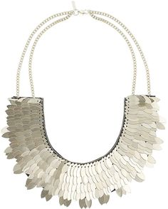 Womens gold statement leaf necklace from Topshop - £22.50 at ClothingByColour.com