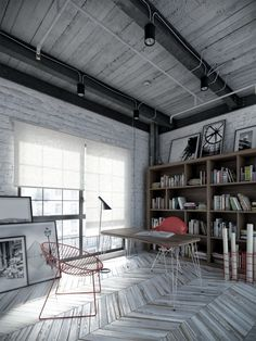 rustic industrial office--image via Worksona #zincdoor #industrial #rustic #office