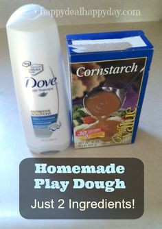 To make this homemade play dough – its the easiest ever – just mix together cornstarch and conditioner!!
