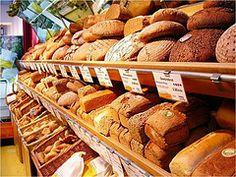 Variety of different German breads - I prefer the darker ones with seeds