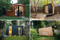 Here are 14 examples of modern backyard home offices, art studios, gyms, and hideouts that take backyard sheds to a whole new level. - Tap the pin if you love super heroes too! Cause guess what? you will LOVE these super hero fitness shirts! Guest House Shed, Backyard Guest Houses, Backyard House, Backyard Studio, Backyard Sheds, Outdoor Sheds, Garden Sheds, Outdoor Office, Backyard Office