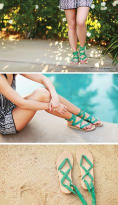 Colorful and versatile ribbon sandals for summer adventures. You can style and tie the sandals in hundreds of ways!
