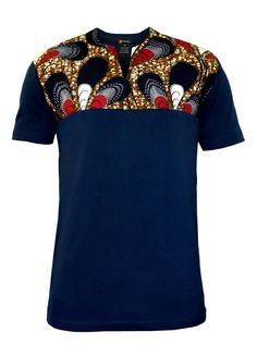 Dayo Men's African Print T-Shirt (Red/Navy/White Peacock Feathers)