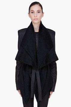 Gareth Pugh Black Mohair Alpaca Leather Jacket for Women   SSENSE