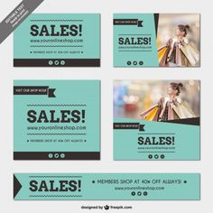 Sales banners templates pack Free Vector