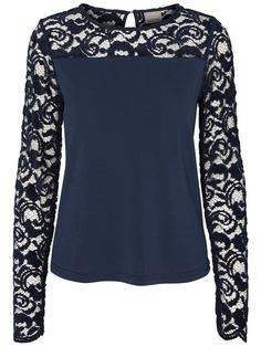 Wear this navy laced blouse from VERO MODA with a skirt and high heels for a night out.