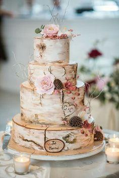 Rustic Romantic Inspiration | Rustic wedding cakes, Wedding cake and ...