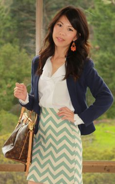 Ping of All About Fashion Stuff wearing my Chevron Pencil Skirt