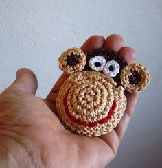Crochet Monkey Brooch by MonikaDesign on Etsy, $14.00