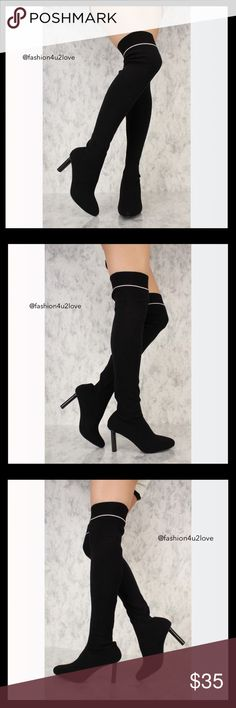7dcbffdb65274 Black Thigh High Chunky Heel Knit Sock Boots Black Thigh High Chunky Heel  Knit Sock Boots Walk out like a stylish diva with these unique pair of  boots!