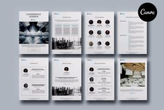 Conference Agenda Canva Template for presentation or project description of any corporate event such as a conference, business seminar, special workshop Brochure Design, Brochure Template, Conference Agenda, Corporate Event Design, Graphic Design Programs, Booklet, Design Projects, Presentation, Templates