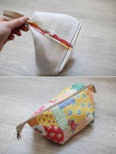 Bolsa de cosméticos de colores. DIY Patrón Tutorial