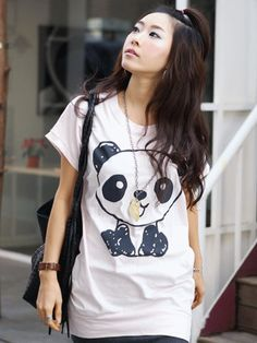 Mega cute White T-Shirt with black panda scribble print on the front and back…