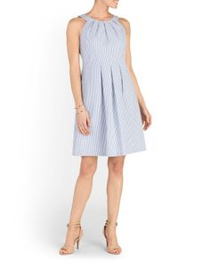 Pleated Neck Fit And Flare Dress - Women - T.J.Maxx