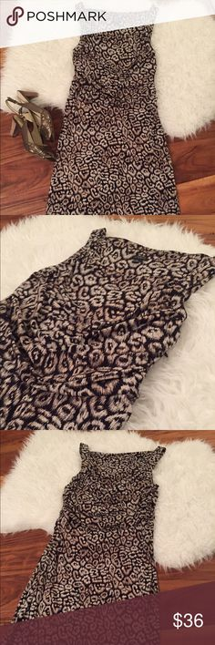 Ann Taylor NWOT leopard print dress Brand new without tags, perfect condition.  Gorgeous leopard/animal print dress with ruched bodice, high back. Ann Taylor Dresses