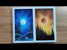 Blue vs Red Moon Landscape | Ice and Fire | Easy Acrylic Painting - YouTube